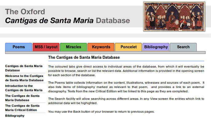 The Oxford Cantigas de Santa Maria Database