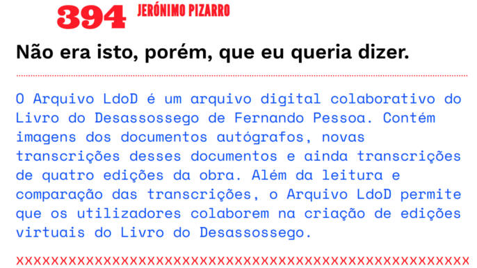 Arquivo LdoD | Arquivo digital colaborativo do Livro do Desassossego